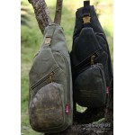 Mens sling pack army green, black single strap chest pack