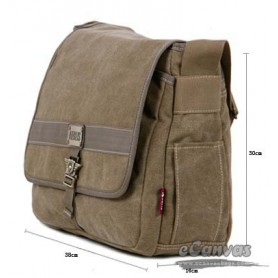 Military army style canvas shoulder messenger bag khaki