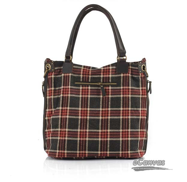 purple Plush plaid shoulder bag, plaid messenger bag
