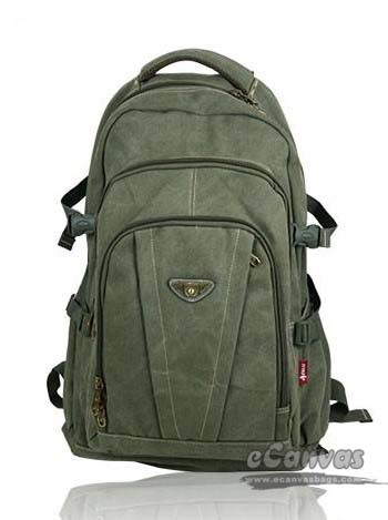 Large laptop backpack purse khaki, army green, black - E-CanvasBags