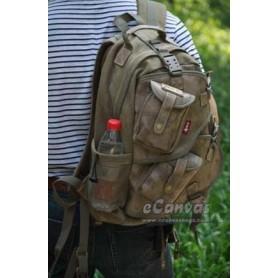 Vintage military laptop backpack khaki for boys