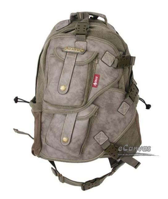 Vintage military laptop backpack khaki, army green, black - E ...