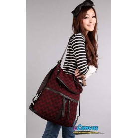 Woollen multi purpose bag backpack  red