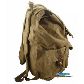 canvas Personalized travel bag rucksack for mens khaki