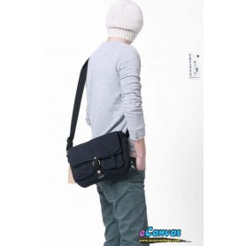 Canvas messenger bag, mens shoulder bag black