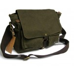 Canvas messenger bag, mens shoulder bag green