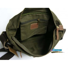 Canvas messenger pack, mens shoulder bag green