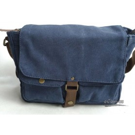 Canvas messenger bag, mens shoulder bag blue
