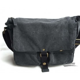Canvas messenger bag, mens shoulder bag grey