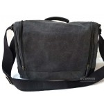 Canvas briefcase for men, shoulder bag grey
