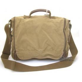 Canvas briefcase for men, shoulder bag khaki