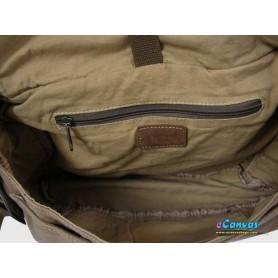 Canvas briefcase shoulder bag khaki