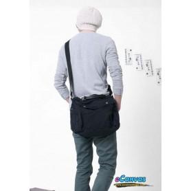 Canvas briefcase for men, shoulder bag black