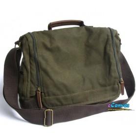 Canvas briefcase for men, shoulder bag green