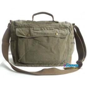 Canvas briefcase for men, shoulder bag army green