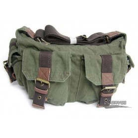green canvas utility bag