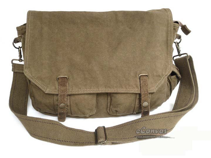 Boys green messenger bag, 15 inch canvas laptop shoulder bag ...