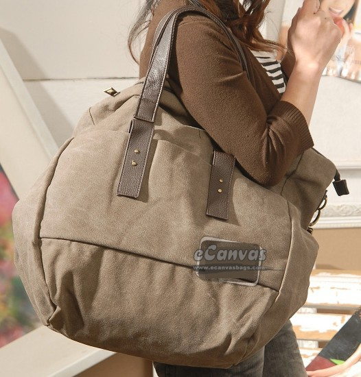 Large-capacity neutral canvas messenger bag coffee, black ...