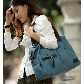 Large handbags tote blue