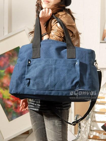Black Messenger Bag Girls Travel Bag Canvas Big Shoulder