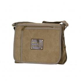 Aslant Bag, khaki canvas mail bag, single shoulder bag