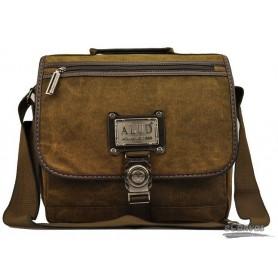 Canvas school bag, mens organizer bag, coffee antique briefcase