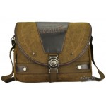 Canvas shoulder messenger bag, coffee briefcase for men, canvas field bag
