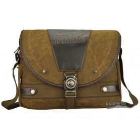 Canvas shoulder messenger bag, coffee briefcase for men, canvas field bag