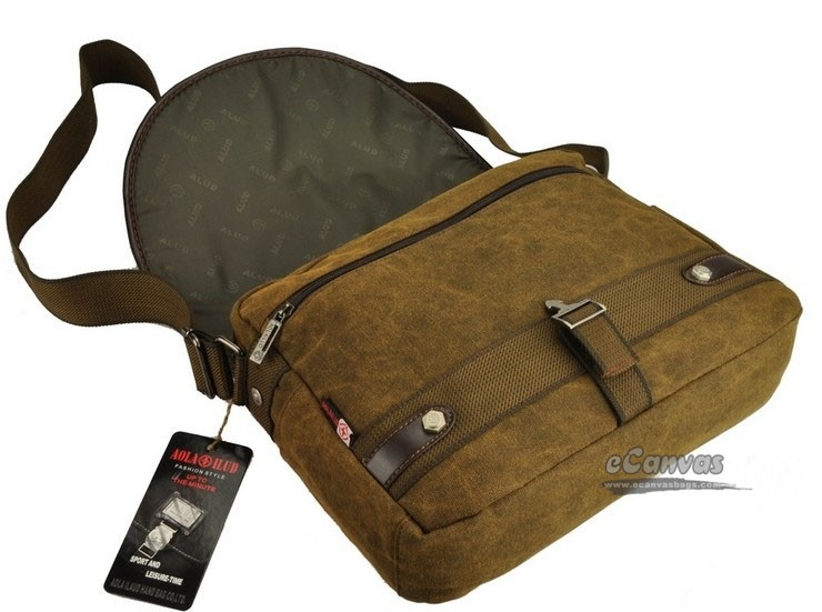 Canvas shoulder messenger bag, coffee briefcase for men, canvas ...