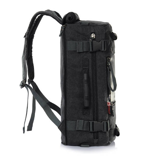 Canvas rucksack, black 16 inch laptop backpack, multi pocket back ...