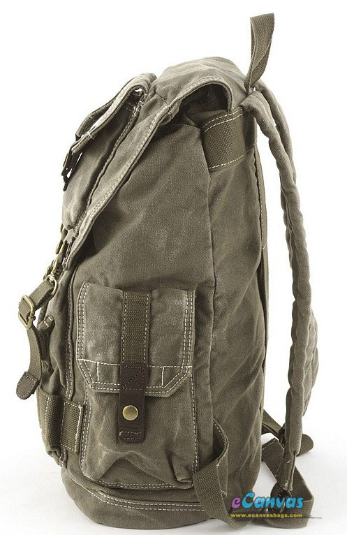 khaki womens bag, cotton canvas bag, canvas backpack - E-CanvasBags