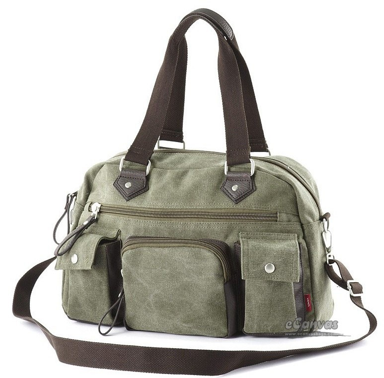 Natural canvas tote bag, long strap shoulder bag, army green ...