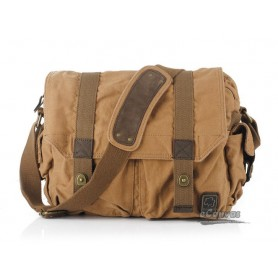 Mens messenger bag, retro canvas bag, yellow, khaki