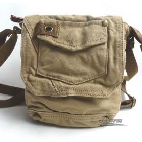 Small Shoulder Bag Canvas Khaki Full Flap Multi Pocket