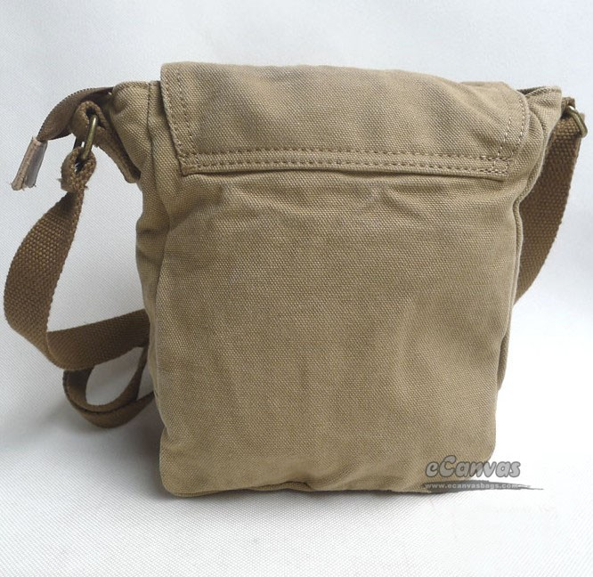 Small shoulder bag canvas, khaki full flap multi pocket messenger ...