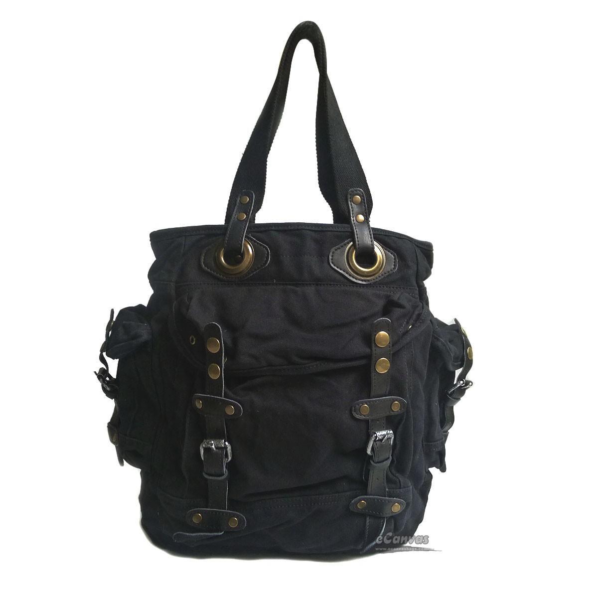 Black canvas tote bag, khaki canvas zipper bag, black cool tote ...