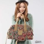 Canvas print hand bag, girls tote bag, khaki handbag tote