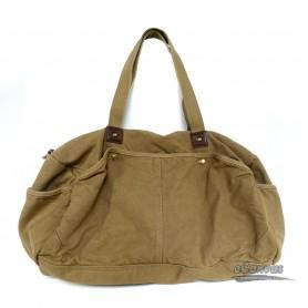 Canvas shoulderbag, khaki travel shoulder bag, black trendy tote bag