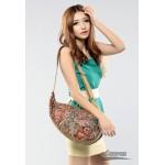 One shoulder bag, print school bag, khaki canvas shoulder purse