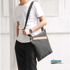 black Casual leather canvas bag for men