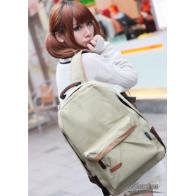 beige school backpack
