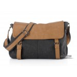 Black messenger bag, across the shoulder bag, vertical european messenger