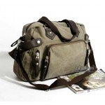 Large canvas bag, black large handbag, army green man bag