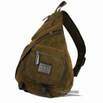 Cross body sling bag, khaki european shoulder bag, woman's sling back pack