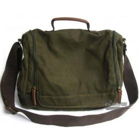 Canvas men shoulder bag green