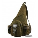 Hot unisex vintage men's canvas shoulder bag, khaki chest pack, sling bag