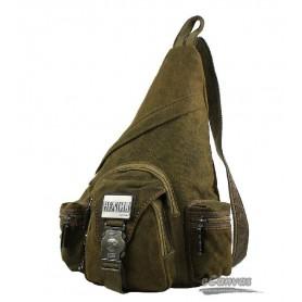 Hot unisex vintage men's canvas shoulder bag, khaki chest pack, sling bag