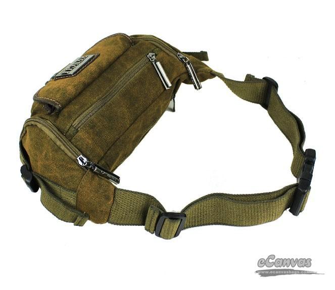 Hip fanny pack, canvas hip waist bag, khaki jogging fanny