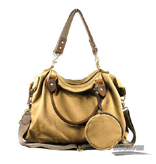 Canvas handbag, khaki school shoulder bag, coffee unique messenger ...