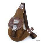 One shoulder backpack, one strap back pack, khaki backpack single strap